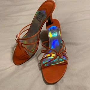 Mootsies Tootsies orange strappy kitten heels Sz 8